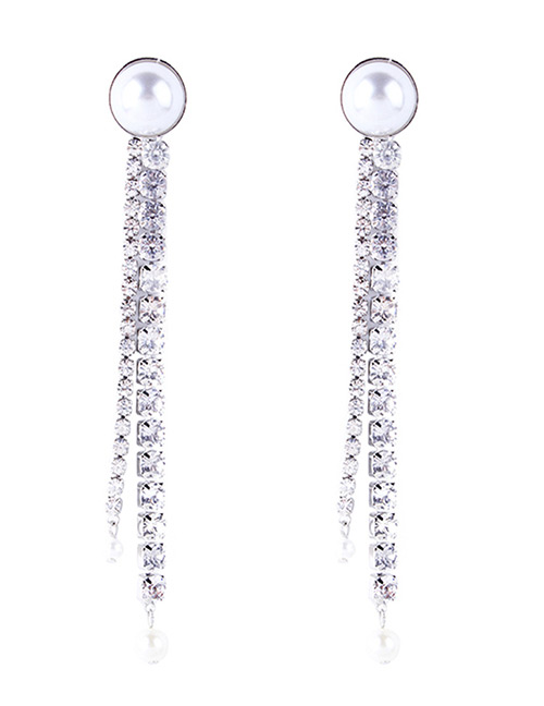 Fashion Silver Color Full Diamond Decorated Tassel Earrings