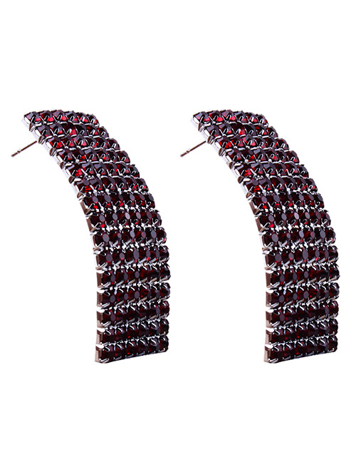 Fashion Claret Red Full Diamond Decorated Earrings