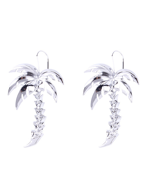 Fashion Silver Color Leaf Shape Decorated Pure Color Earrings