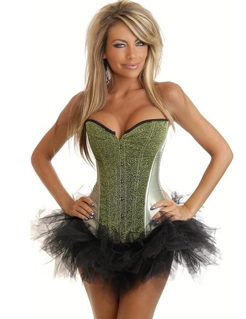 Fashion Green Pure Color Decorated Corset