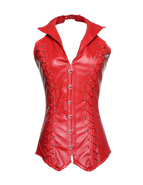 Fashion Red Pure Color Decorated Corset