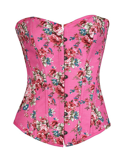 Fashion Plum Red Flower Pattern Decorated Corset