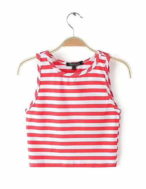 Fashion Red+white Stripe Pattern Decorated Vest