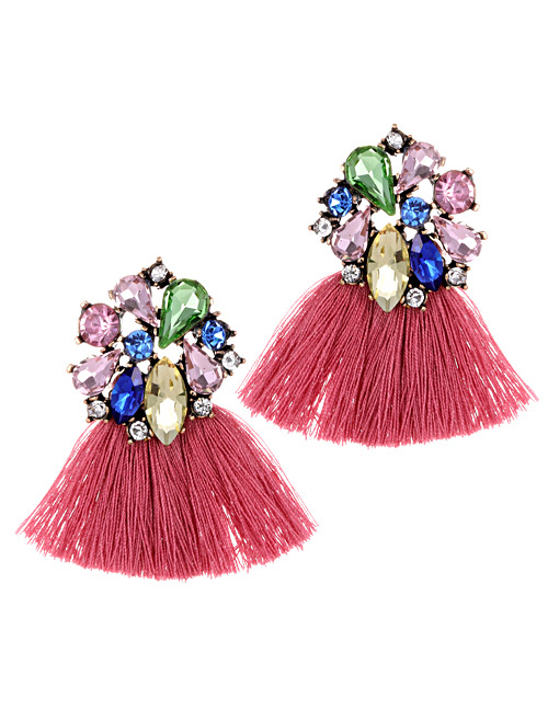Fashion Pink Geometric Shape Decorated Tassel Earrings