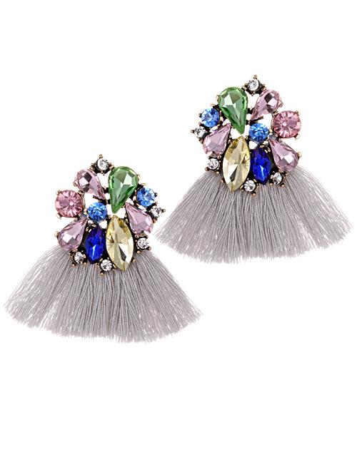 Fashion Gray Geometric Shape Decorated Tassel Earrings