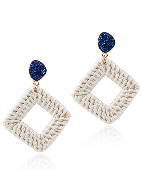 Fashion Blue Square Shape Decorated Earrings