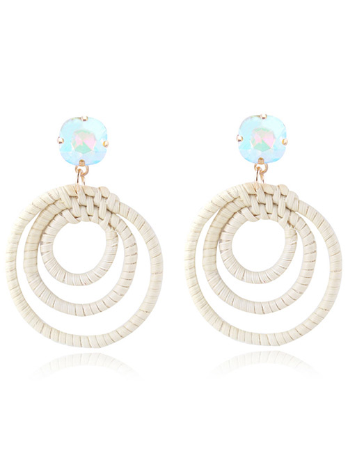 Fashion Light Blue Round Shape Decorated Earrings