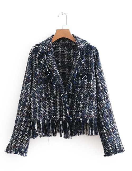 Fashion Navy Grids Pattern Decorated Coat