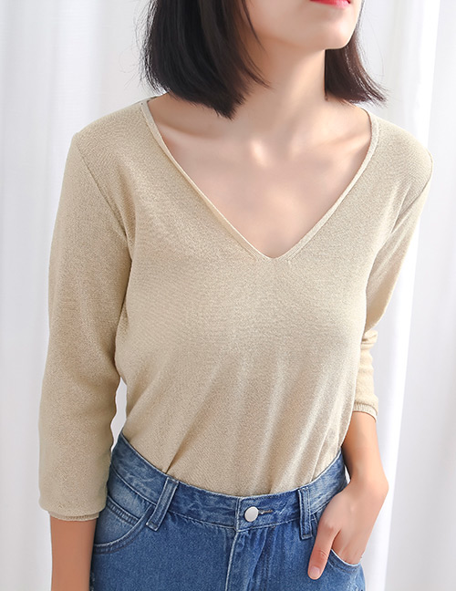 Fashion Beige V Neckline Design Pure Color Sweater