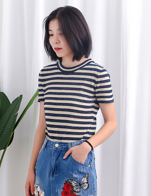 Fashion Navy+beige Round Neckline Design Stripe Pattern Sweater