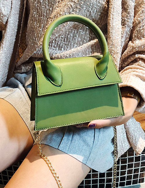 Fashion Green Pure Color Decorated Bag