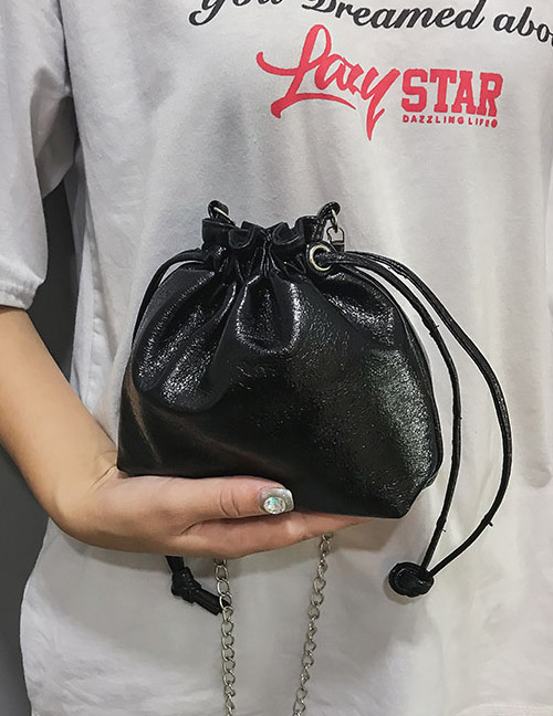 Fashion Black Pure Color Decorated Bag