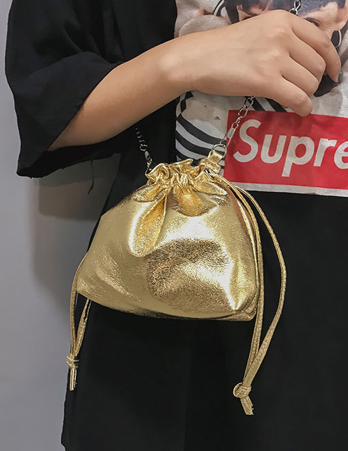 Fashion Gold Color Pure Color Decorated Bag