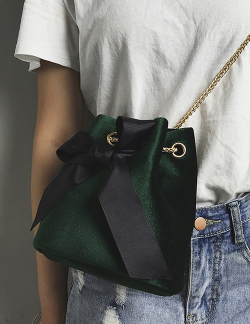 Fashion Green Bowknot Shape Decorated Bag