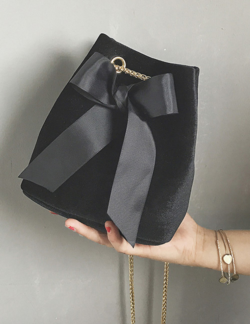 Fashion Black Bowknot Shape Decorated Bag