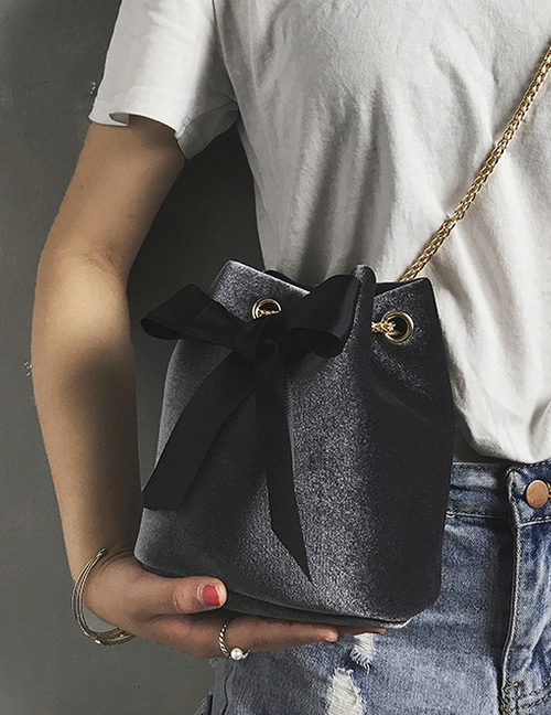 Fashion Gray Bowknot Shape Decorated Bag