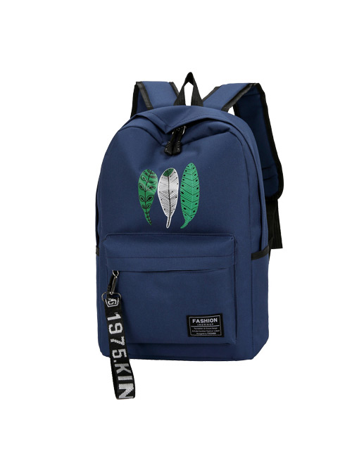 Fashion Blue Leaf Pattern Decorated Backpack