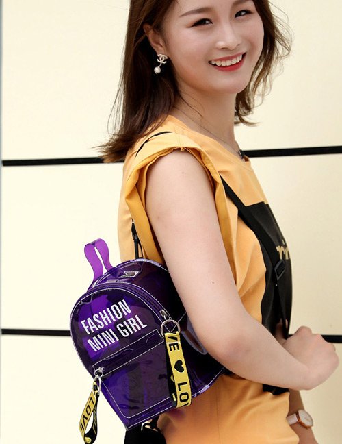 Fashion Purple Letter Pattern Decorated Backpack