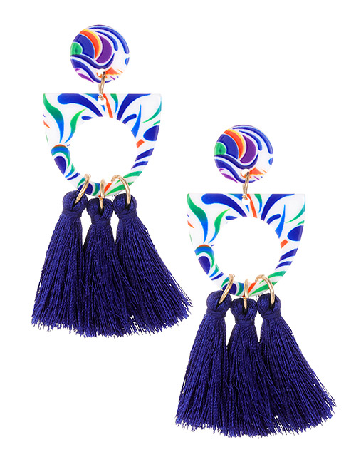 Fashion Sapphire Blue Hollow Out Design Tassel Earrings