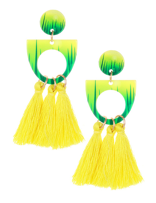 Fashion Yellow Hollow Out Design Tassel Earrings
