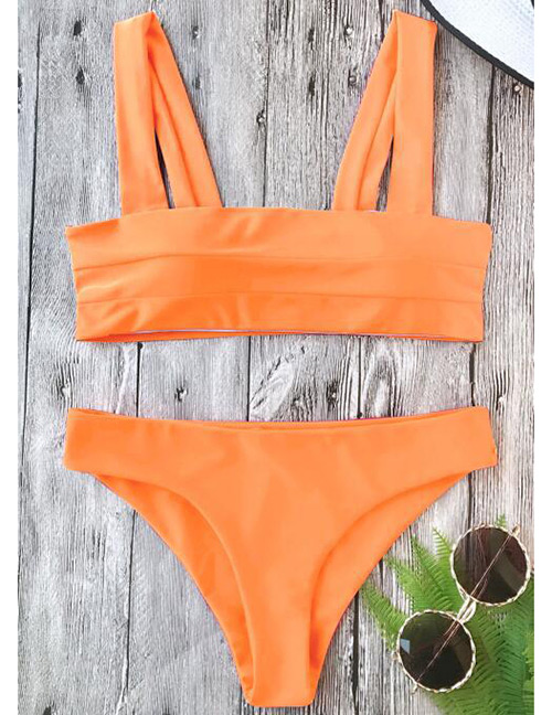 Sexy Orange Pure Color Decorated Swimwear(2pcs)