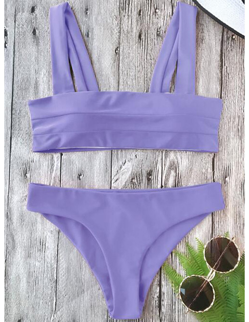 Sexy Purple Pure Color Decorated Swimwear(2pcs)