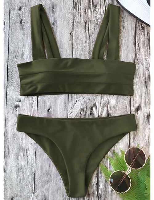 Sexy Dark Green Pure Color Decorated Swimwear(2pcs)