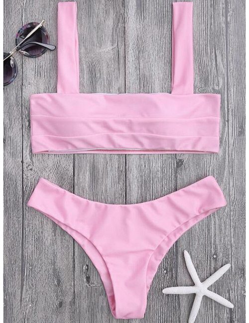 Sexy Pink Pure Color Decorated Swimwear(2pcs)