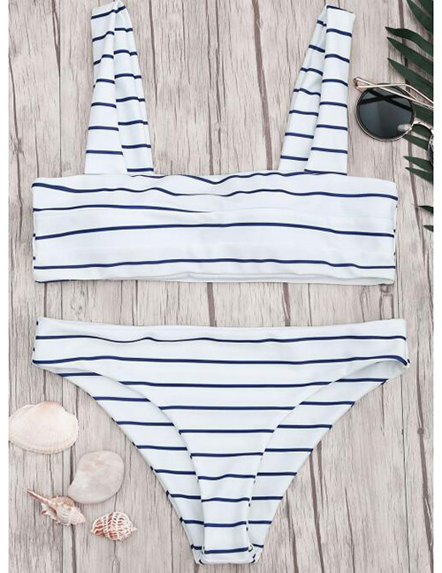 Sexy White Stripe Pattern Decorated Swimwear(2pcs)