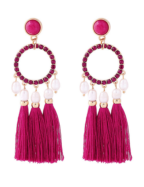 Fashion Plum Red Round Shape Decorated Tassel Earrings