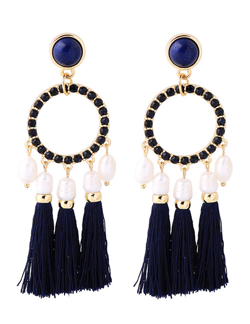 Fashion Navy Round Shape Decorated Tassel Earrings
