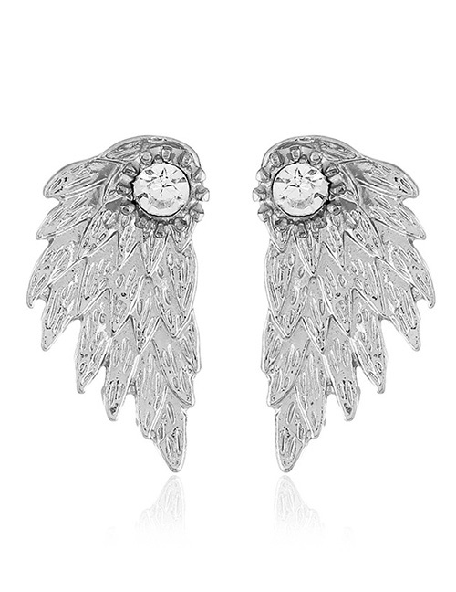 Fashion Silver Color Wing Shape Design Earrings