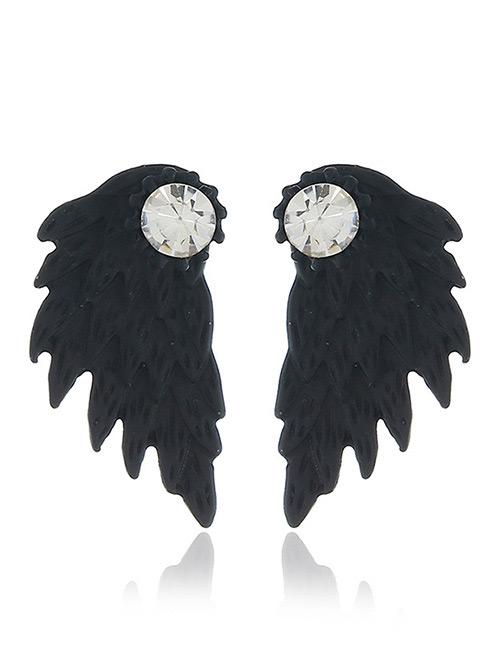 Fashion Black Wing Shape Design Earrings