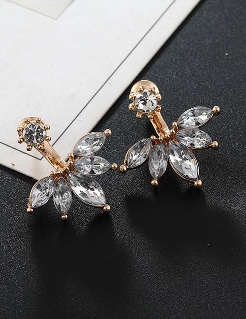 Fashion Rose Gold Full Diamond Decorated Earrings