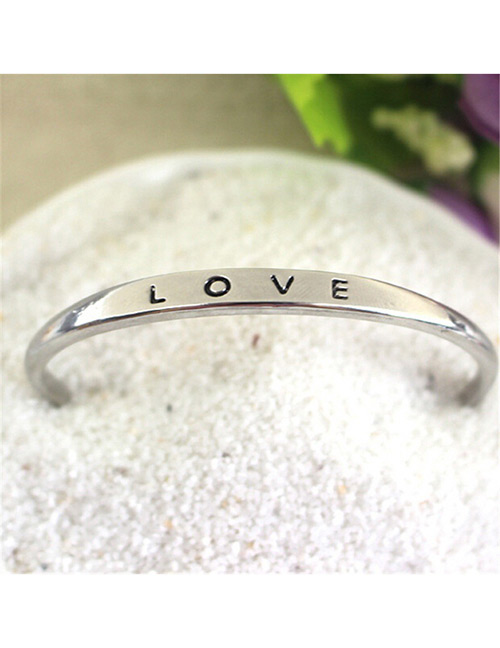 Fashion Silver Color Letter Pattern Decorated Opening Bracelet