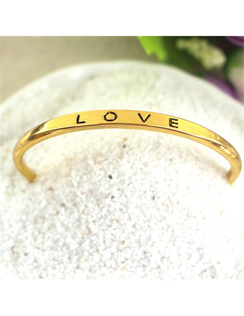 Fashion Gold Color Letter Pattern Decorated Opening Bracelet