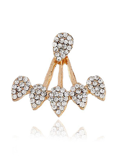 Fashion Gold Color Full Diamond Decorated Earring(1pcs)