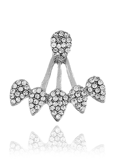Fashion Silver Color Full Diamond Decorated Earring(1pcs)