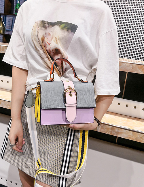 Fashion Gray+pink Color-matching Decorated Bag