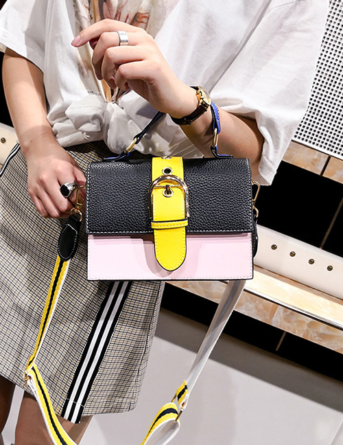 Fashion Black+pink Color-matching Decorated Bag