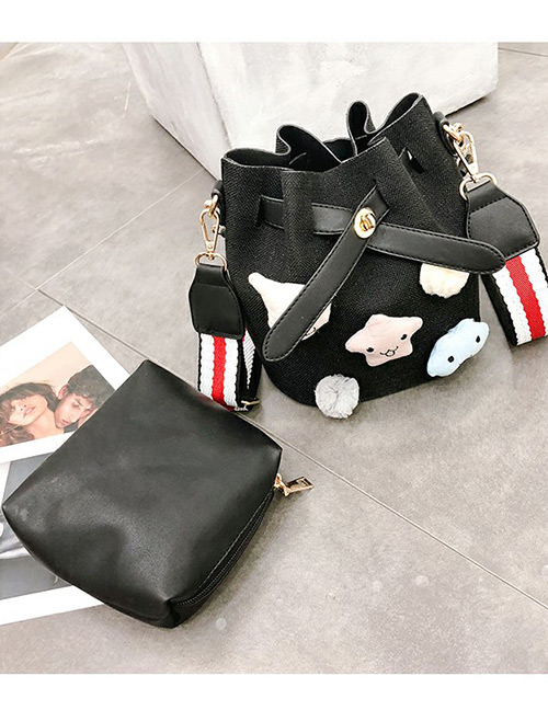 Fashion Black Doll Shape Decorated Bag