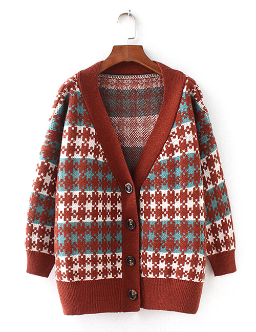 Fashion Green Grid Pattern Decorated Sweater