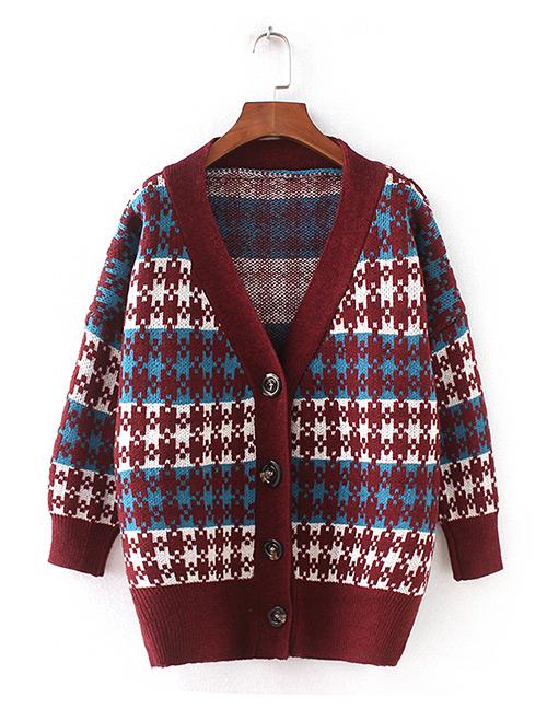 Fashion Blue Grid Pattern Decorated Sweater