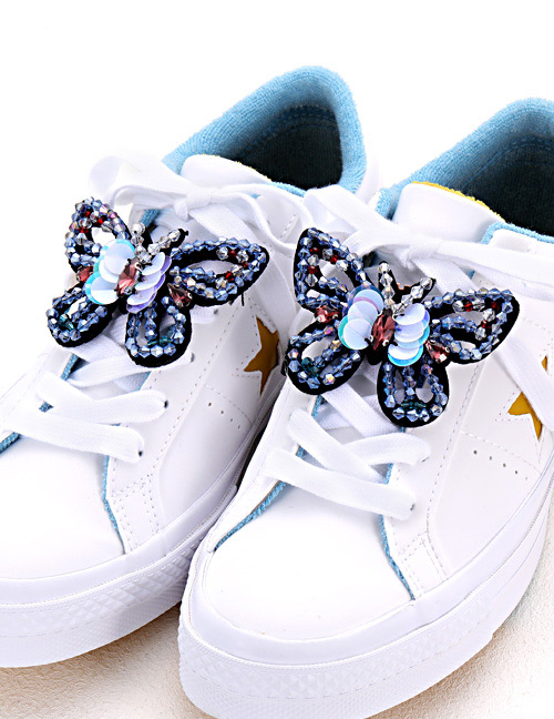 Fashion Blue Butterfly Shape Decorated Shoe Accessories(2pcs)