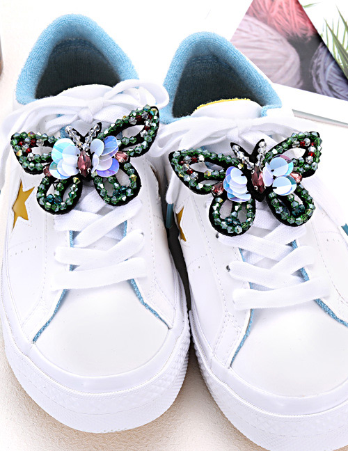 Fashion Green Butterfly Shape Decorated Shoe Accessories(2pcs)