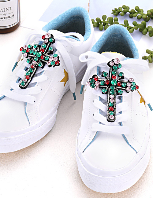 Fashion Green Cross Shape Decorated Shoe Accessories(2pcs)