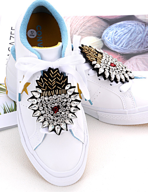 Fashion White Heart Shape Decorated Shoe Accessories(2pcs)