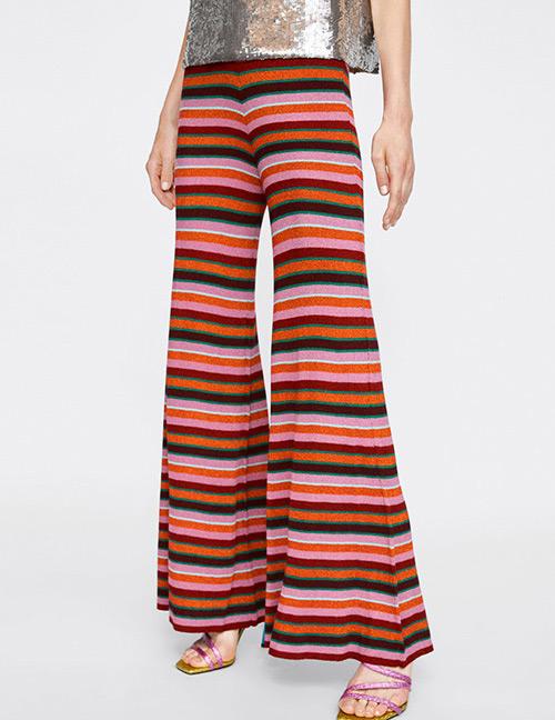 Fashion Multi-color Stripe Pattern Decorated Pants