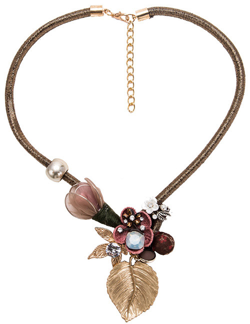 Fashion Claret Red Flower Shape Decorated Necklace