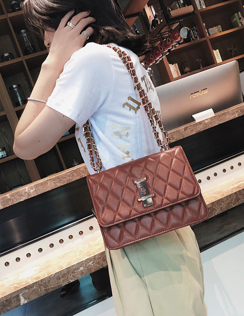 Fashion Dark Red Grids Pattern Decorated Bag